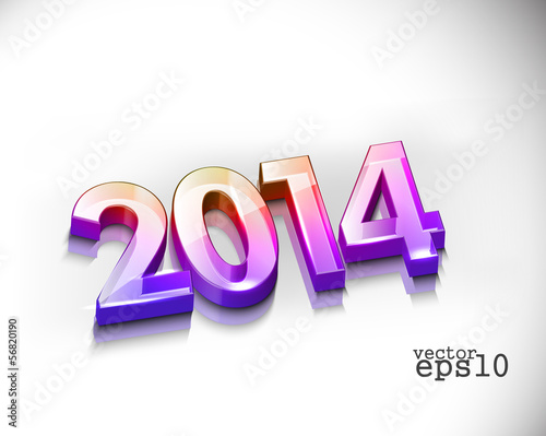 3d Happy New Year 2014 Text Design