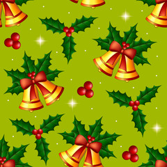 Christmas seamless pattern with holly and bells