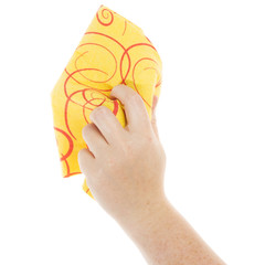 Hand with cleaning cloth