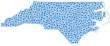 Map of North Carolina - Usa - in a mosaic of blue circles