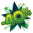 40%, réduction, solde, remise, ristourne, commerce, vente