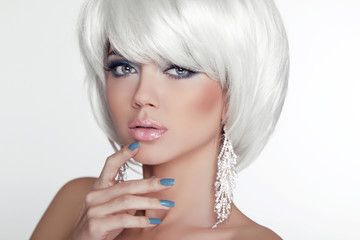 Fashion Beauty Girl Portrait with White Short Hair. Jewelry. Hai