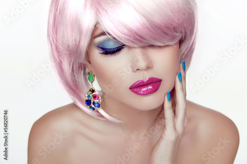 Makeup. Sexy lips. Beauty Girl Portrait with Colorful Makeup, Co
