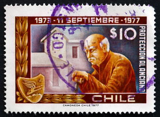 Postage stamp Chile 1977 Old Man and Home