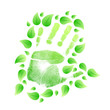 handprint with leaves around. illustration design
