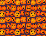 Halloween background with funny pumpkins