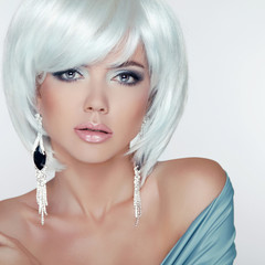 Makeup. Fashion Style Beauty Woman Portrait with White Short Hai