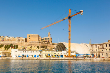 Port cargo crane in Shipyards harbor of Malta