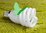Energy saving bulb on a green background