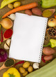 Vegetables with notebook