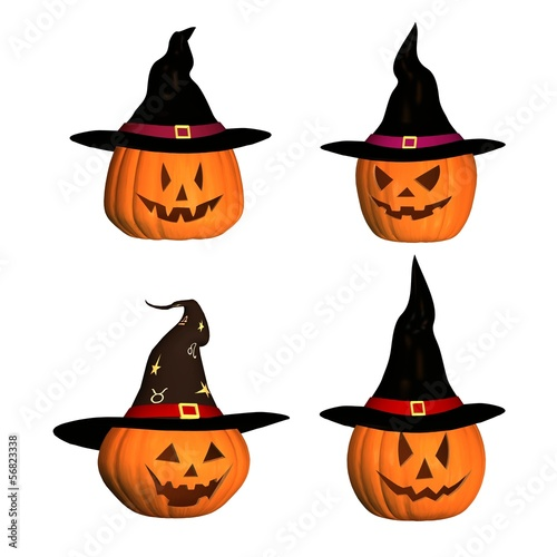 four 3D halloween pumpkins with witch hat
