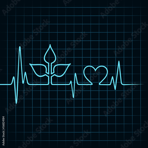 Heartbeat make leaf and heart icon stock vector