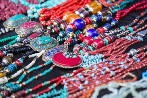 Colorful neacklaces, bracelets, accessories and souvenirs