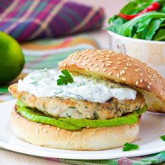 Fresh, delicious chicken burger in the Greek style with zucchini