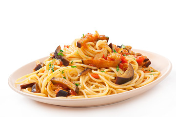spaghetti with fried eggplant and tomatoes and sweet