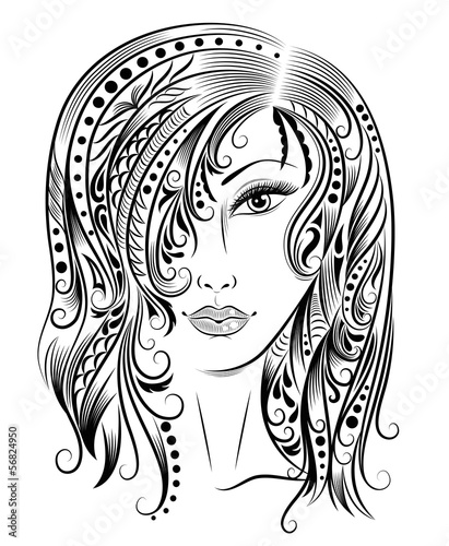 Woman with a patterned hair.
