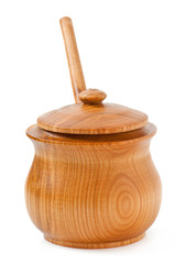 wooden pot of honey