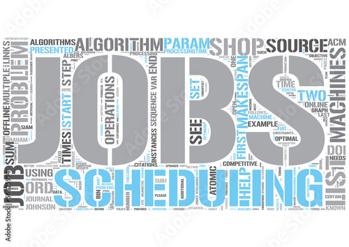 Job shop scheduling Word Cloud Concept