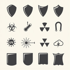 Shield and protection icons set on texture background. Vector