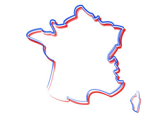 Carte de France - couleurs du drapeau