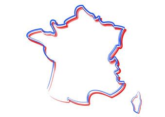 Carte de France - couleurs du drapeau
