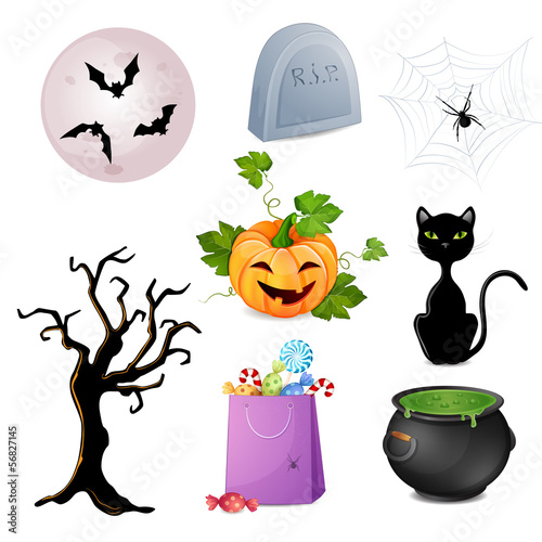 Set of Halloween elements.