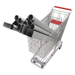 Metal rolling in a basket for shopping