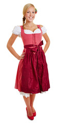 Blond happy woman in dirndl