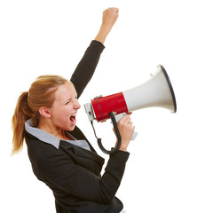 Business woman with megaphone and clenched fist