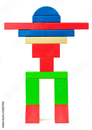Toy robot made from toy wooden colorful bricks
