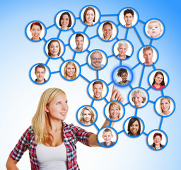 Woman selecting friends and family in social network