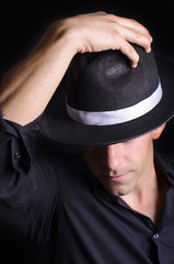Hat greeting with mafia or mambo latin hat.
