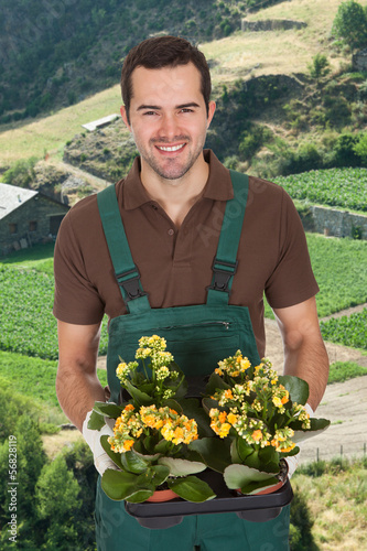 Young Man Holding Flower Plant