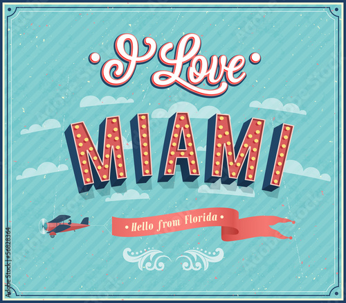 Vintage greeting card from Miami - Florida.