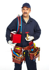 Plumber with a tool belt.