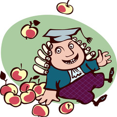 Isaac Newton sitting surrounded by apples