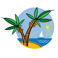Seaside nature sea ocean beach island sky sun yacht palm