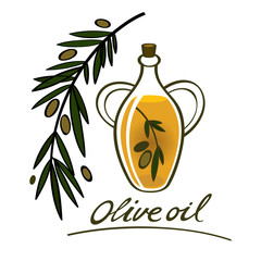 Olive oil food ingredient natural branch bottle