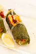 savoy cabbage leaves stuffed with vegetables
