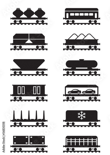 Different types of railway wagons - vector illustration
