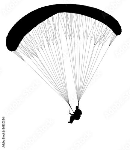 Fototapeta paragliding silhouette - vector