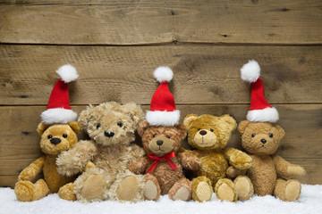 Weihnachtskarte mit Teddy Bären als Familie
