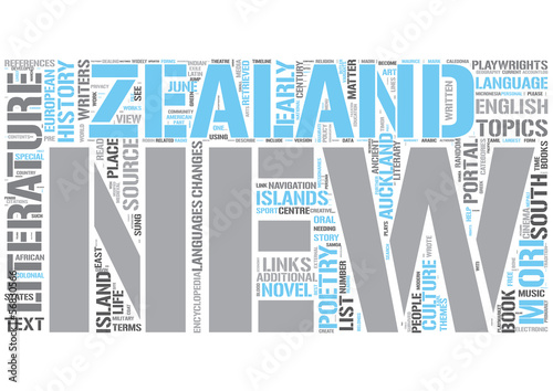 New Zealand literature Word Cloud Concept