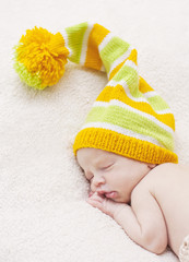 Close-up of sleeping newborn
