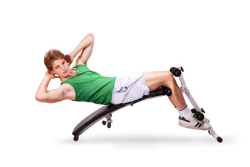 Young Man makes your abs on the bench
