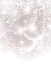 Abstract winter background with transparent balls snowflakes