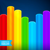 Bright rainbow colors plastic tubes equalizer
