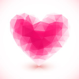 Bright pink vector crystal isolated heart