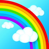 Vibrant vector rainbow in sky with white clouds
