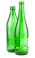 Two empty green bottles